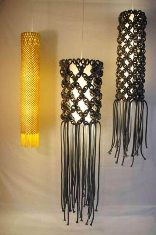 Lámparas decoradas con macramé