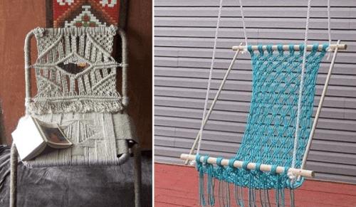Ideas para decorar con macramé una silla reciclada con hilo sisal y una hamaca artesanal colgante