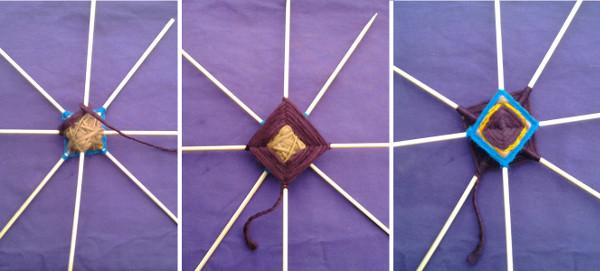 Mandalas de lana Ojo de dios, paso 7