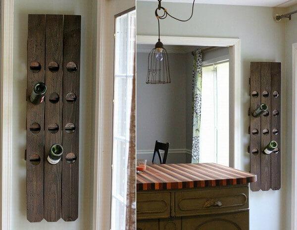 Idea para hacer portavinos de madera decorativo
