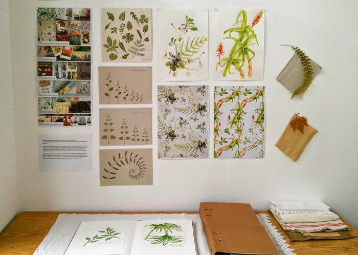 Decoracion botánica con plantas y dibujos