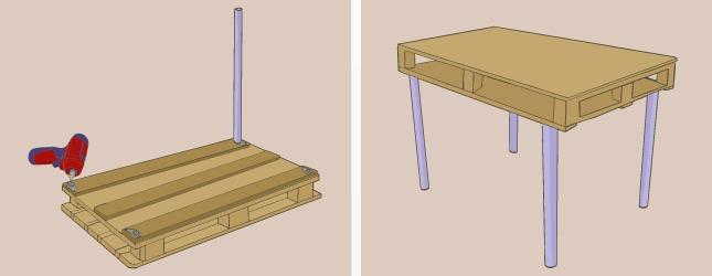 Montaje patas de escritorio de palet