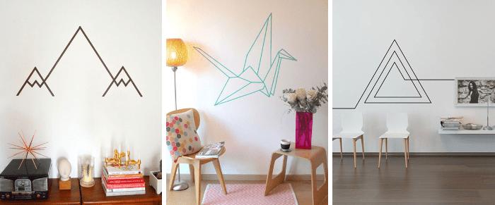 Crea un mural con cinta adhesiva para decorar de forma fácil