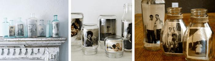 Fotos en envases reciclados pra decorar