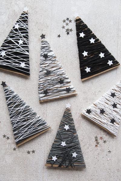 Adornos de carton y lana para el arbol de navidad