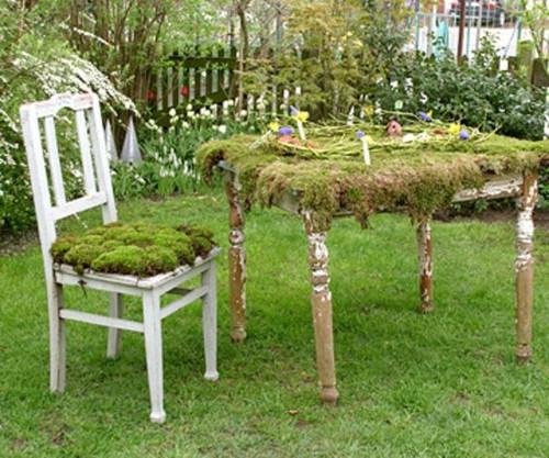 Idea para reciclar una silla y decorar el jardín