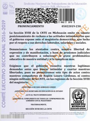 CNTE Comunicado 5 de febrero