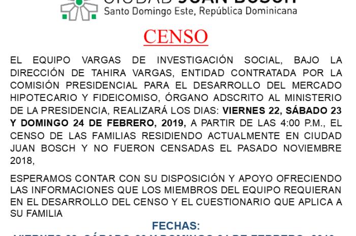 CENSO RESIDENTES CIUDAD JUAN BOSCH
