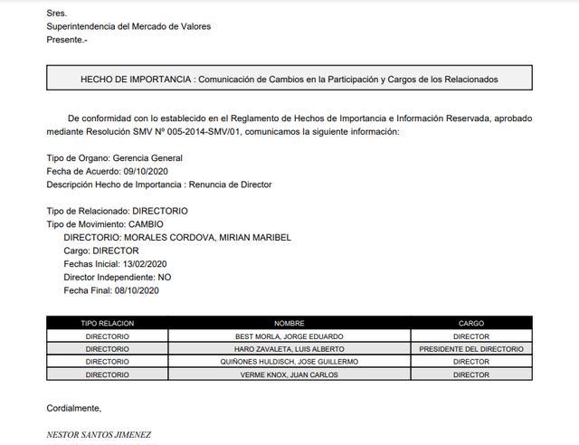 Mirian Morales renunció al cargo de directora de Electroperú. (Documento)