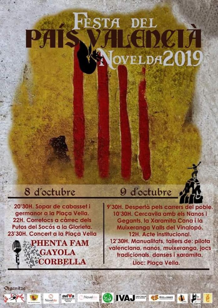 El cartel de la festividad del 9 d'Octubre en Novelda donde aparece el término