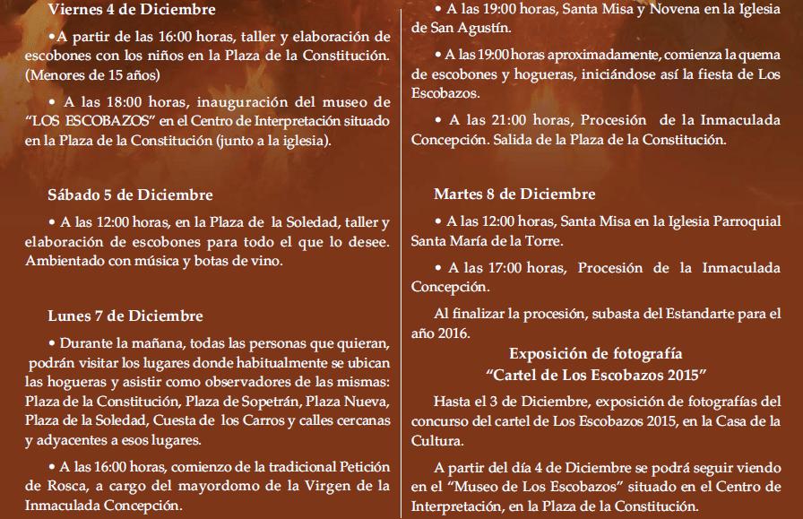 Programa de actividades de los escobazos 2015