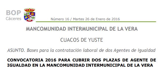 Convocatoria para cubrir dos plazas de Agente de Igualdad en la Vera