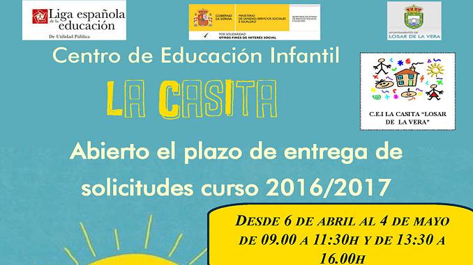 Se encuentra abierto el plazo de entrega de solicitudes para el Centro de Educación Infantil La Casita