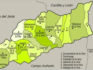 Mapa de la Comarca de la Vera   Casas más grandes