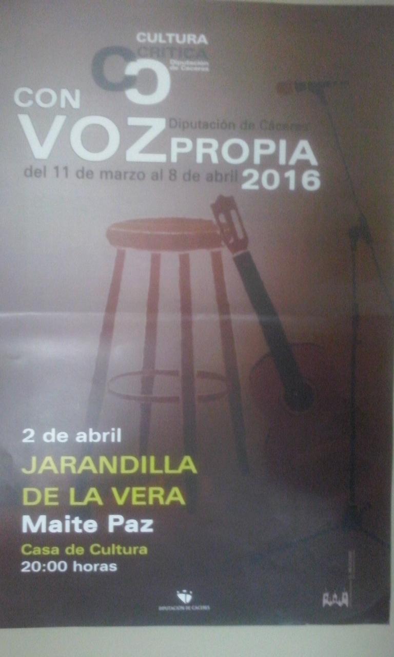 Maite Paz actuará en Jarandilla de la Vera dentro del ciclo con Voz Propia