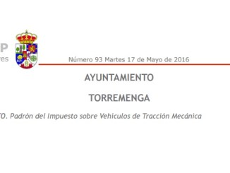 Padrón del Impuesto sobre Vehículos de Tracción Mecánica en Torremenga