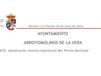 Adjudicación contrato explotación Bar Piscina Municipal