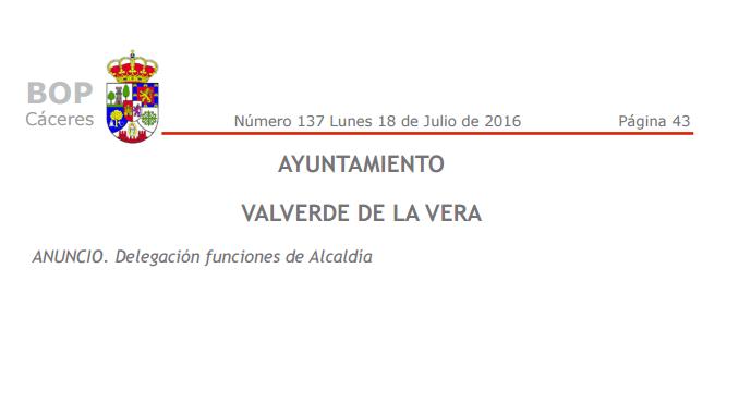 Delegación funciones de Alcaldía en Valverde de la Vera
