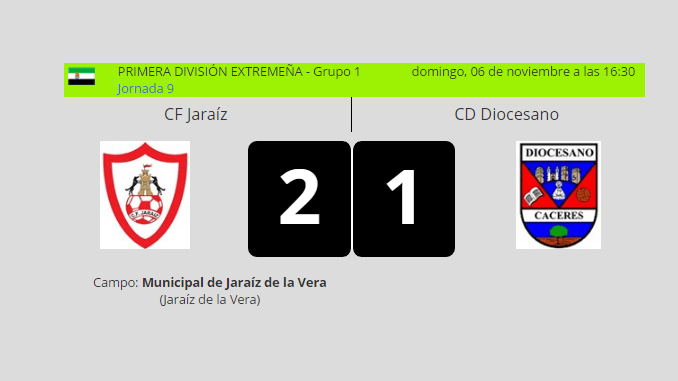 Primera Victoria del CF Jaraíz vs CD Diocesano