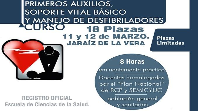 Curso de Primeros Auxilios, soporte vital básico y manejo de desfibriladores - UP Jaraíz