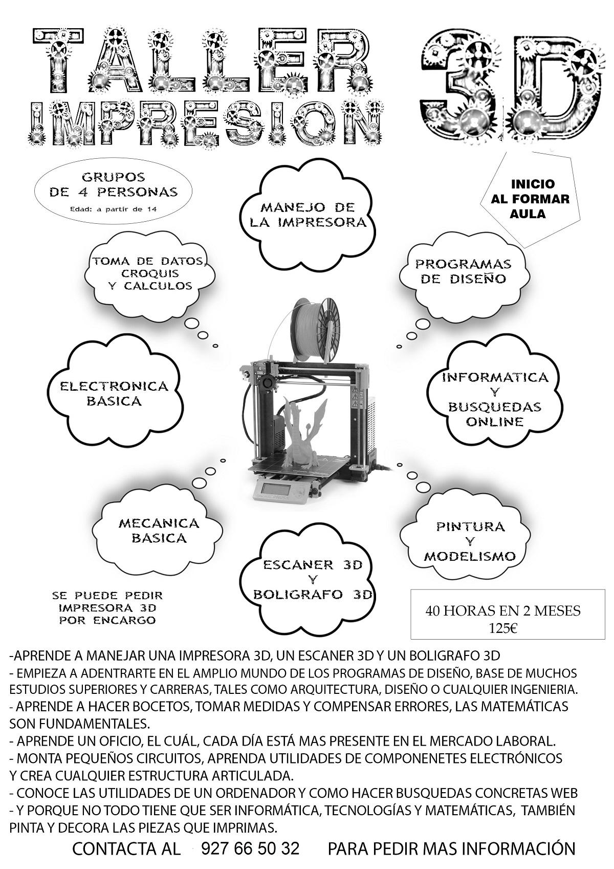 Curso Taller Impresión en 3D en la Universidad Popular de Jaraíz de la Vera