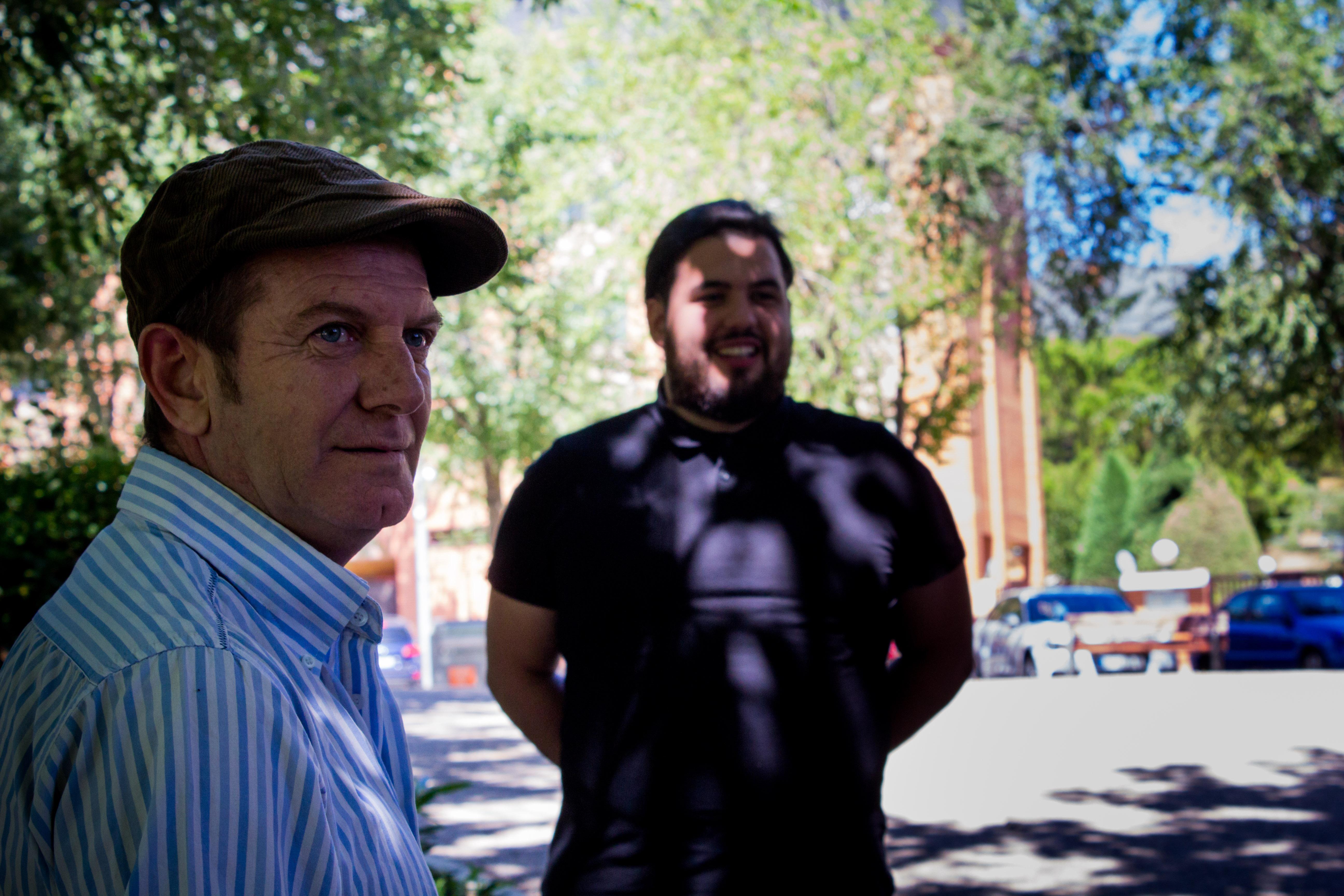 Paco Churruca y Néstor López durante el rodaje