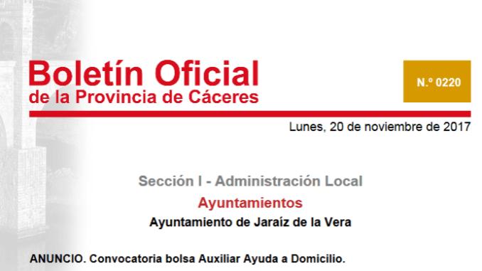 Abierta la convocatoria de la Bolsa Auxiliar de Ayuda a Domicilio en Jaraíz de la Vera