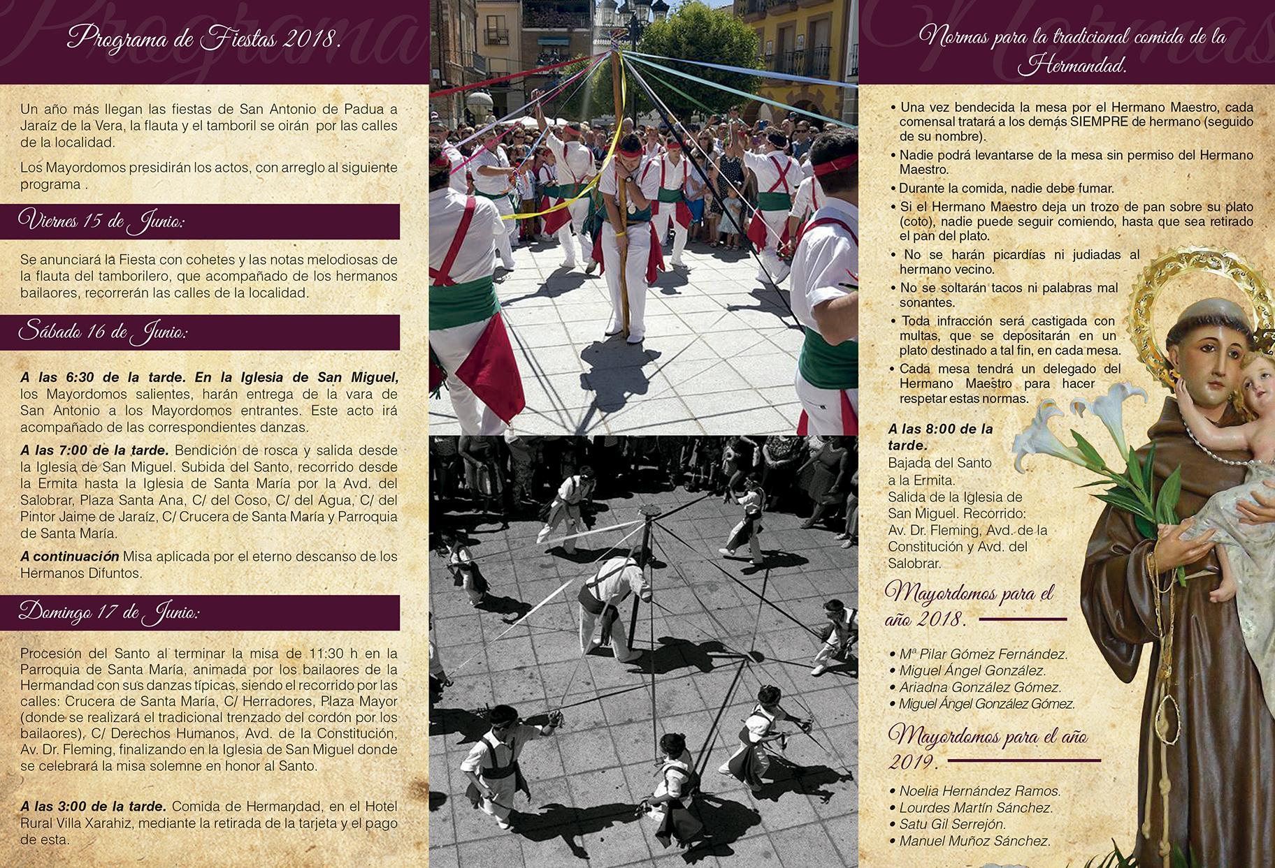 Fiesta de San Antonio de Padua los días 16 y 17 en Jaraíz de la Vera 2018