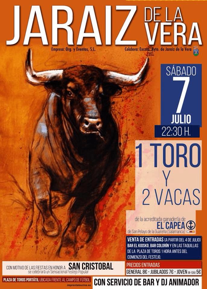 Capea taurina el próximo sábado día 7 de julio en las Fiestas en honor a Cofradía de San Cristóbal 2018