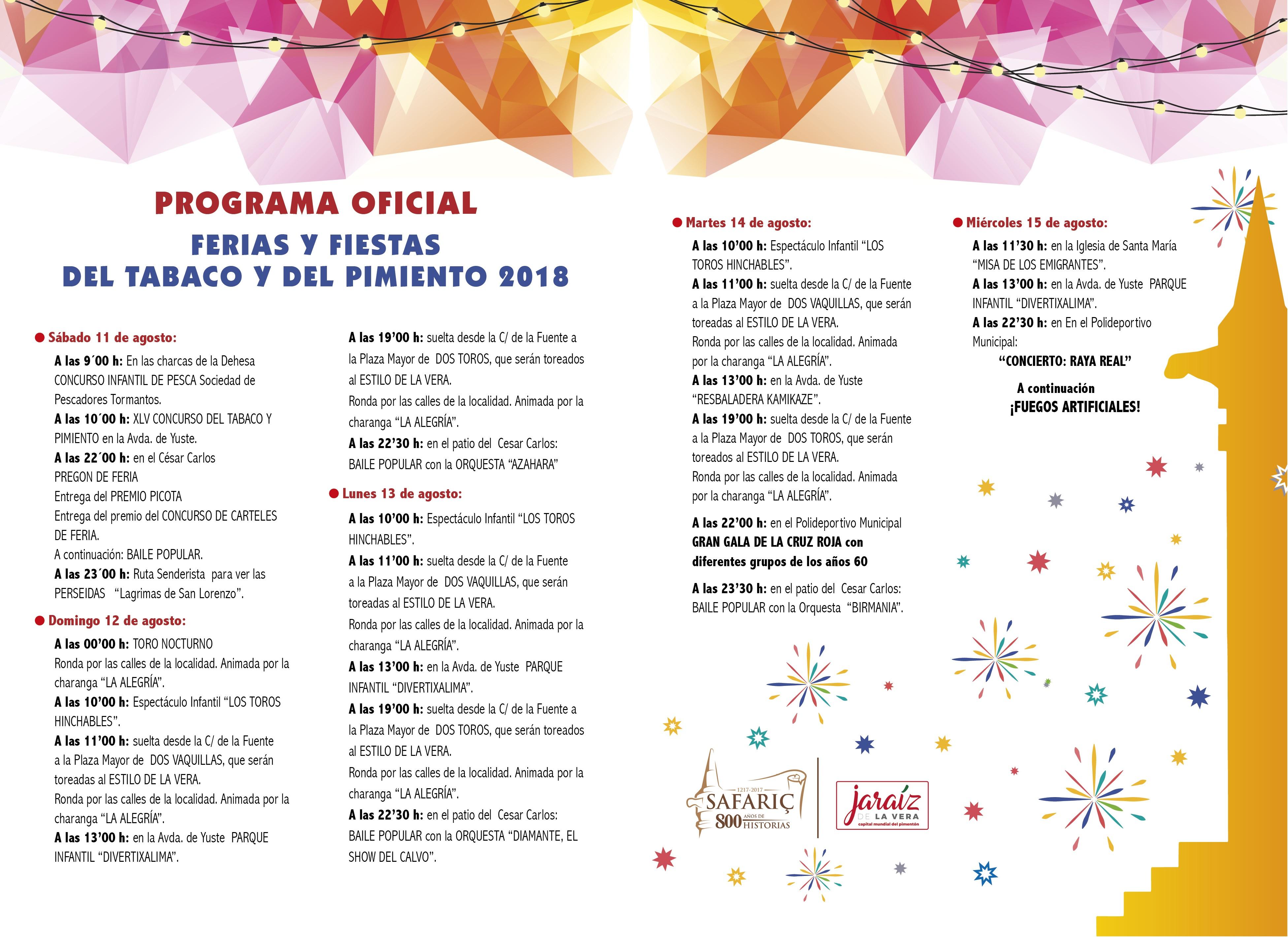 Programa Ferias y Fiestas del Tabaco y del Pimiento de Jaraíz de la Vera 2018