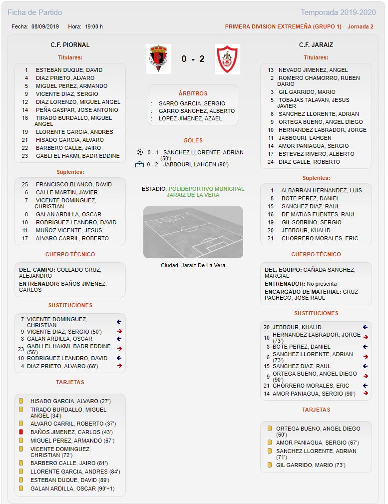 Victoria del C.F. Jaraíz ante el C.F. Piornal por dos goles a cero