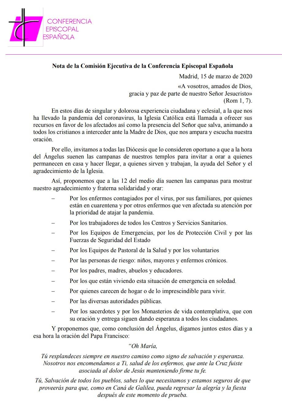 Comunicado Oficial de la Conferencia Episcopal Española
