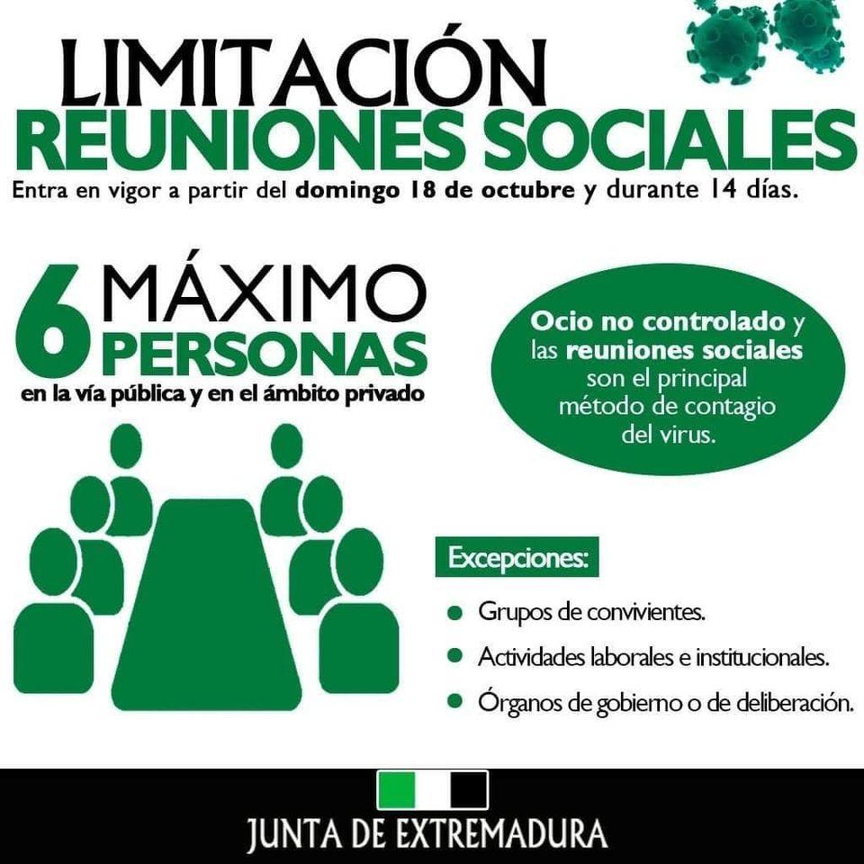 La Junta de Extremadura limita las reuniones sociales a 6 personas en toda Extremadura