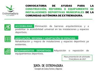 Deportes destina 1,9 millones de euros en ayudas para la construcción, reforma y equipamiento de instalaciones deportivas municipales