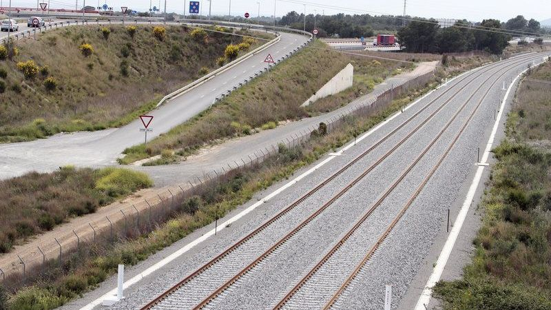 vías, corredor, mediterráneo, ferroviario, transporte, mercancías,