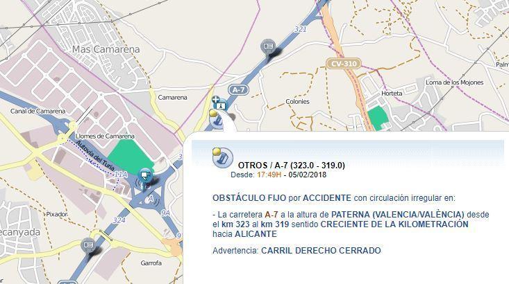 accidente, retenciones, A-7, Paterna,