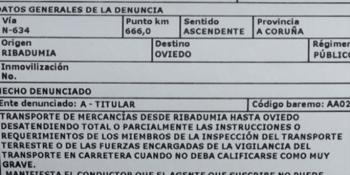 multa, transportista, guardia civil, transportes, Galicia