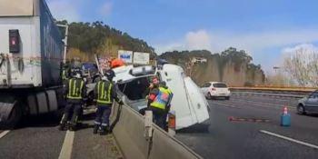 impresionante, accidente, camionero, español, Portugal, ileso,.