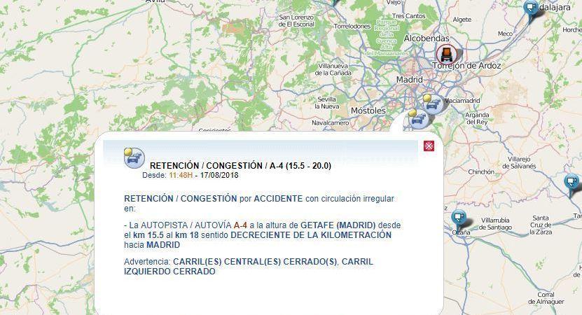 retenciones, A-4, accidente, Madrid,