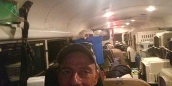 camionero, viejo, autobús, escolar, arca, Noé,