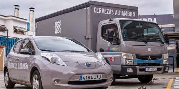 Mahou San Miguel,entrega, camión, híbrido, distribuidor, Granada,