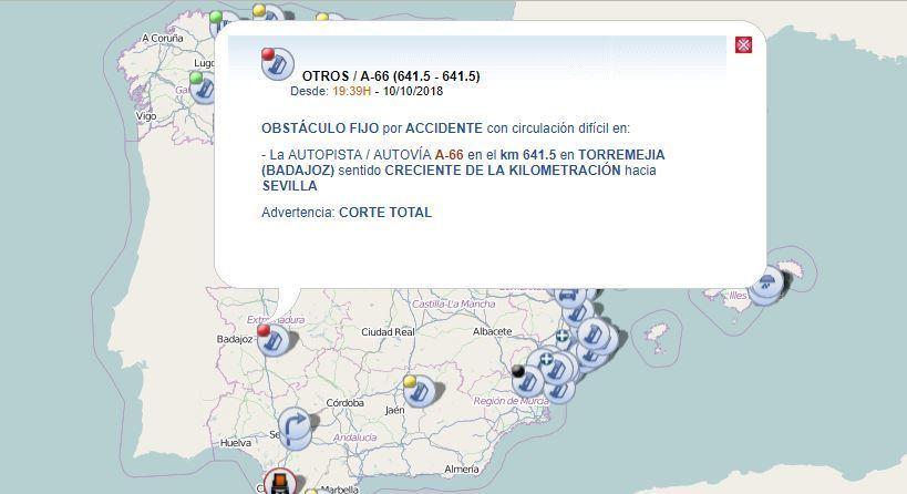 coche, Sevilla, cortada, A-66, colisión, camión,