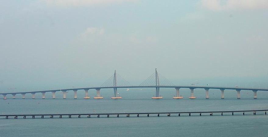 puente, largo, mundo, mar, inaugura, China,