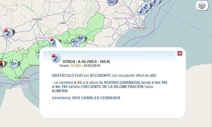 Cortada, A,92, sentido, Almería, vuelco, camión,