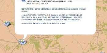 retenciones, A-6, suman, kilómetros, provincia, Valladolid,