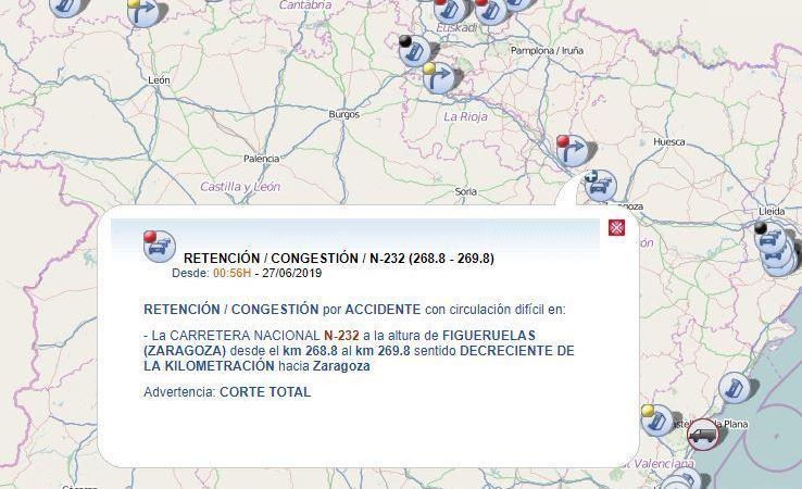 cortada, N-232, vuelco, camión, Figueruelas, Zaragoza,