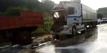heridos, conductores, camiones, colisión, N-634,