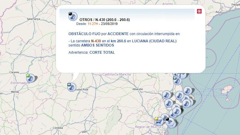 accidente, obliga, cortar, N-430, Luciana,