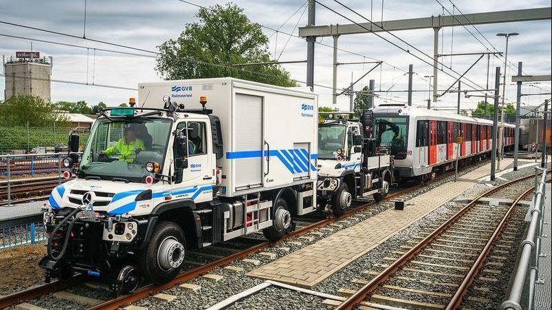 dos, camiones, Mercedes-Benz, Unimog, remolcan, metro, 200, toneladas,