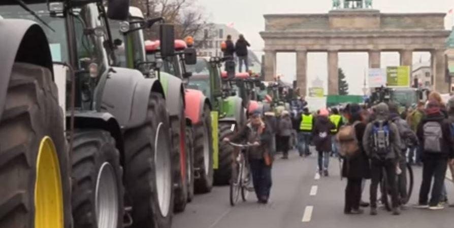 agricultores, tractores, calles, Berlin,